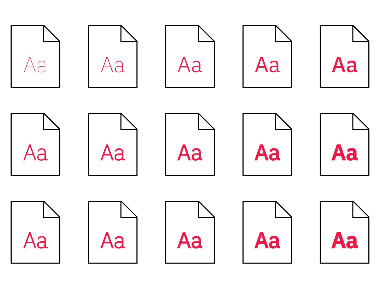 Typeface composto da diversi font